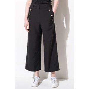 FRS Black Sailor Button Wide Leg Crop Pants