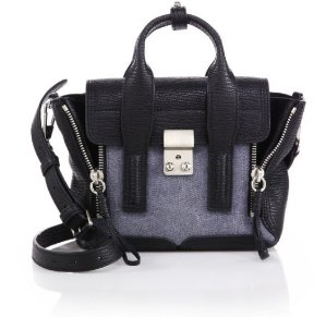 3.1 Phillip Lim Pashli Mini Denim & Shark-Embossed Leather Satchel