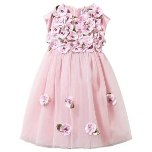 Lesy Pink Tulle Dress with Leather Flower Appliques   AlexandAlexa