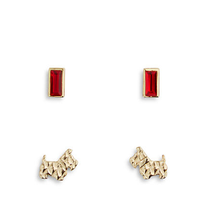 Loyal Friend Earring Set in Gold Tone with Red