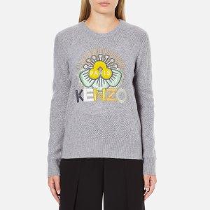 KENZO Women's Flower Logo Knitted Jumper - Light Grey