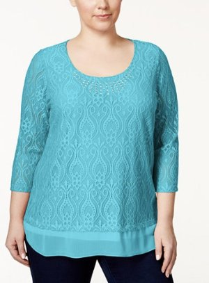 JM Collection Plus Size Embellished Crocheted Tunic