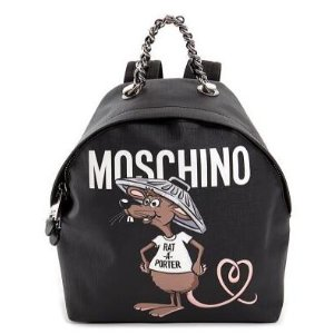 Moschino Rataporter Print Textured Ecoleather Backpack Women