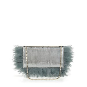 Silver Metallic Watersnake with Fabric Feather Embroidery Clutch Bag