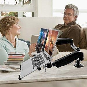 Loctek 2-In-1 Full Motion Gas Spring Dual Monitor Arm Desk Mounts
