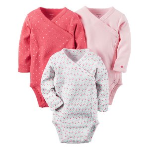 Baby Girl 3-Pack Long-Sleeve Side-Snap Bodysuits | Carters.com