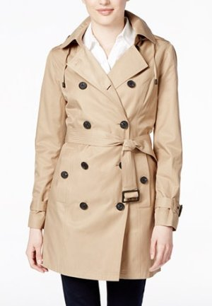 $123.24(Org. $240) MICHAEL Michael Kors Double-Breasted Hooded Trench Coat @ macys.com
