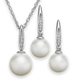 Freshwater Pearl (7-1/2-8-1/2mm) and Diamond Accent Jewelry Set in Sterling Silver @ macys.com
