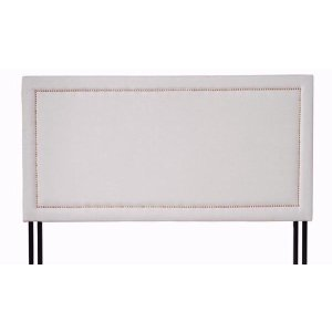 Classic Deluxe Tufted Ivory Fabric Headboard with Nailhead Trim - Quee - Sofamania