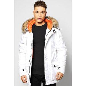 Longline Parka Jacket With Faux Fur Trim