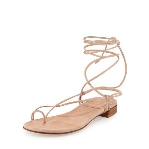 Stuart Weitzman Nieta Striped Lace-Up Sandal, Bisque Prism