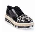 Prada - Crystal-Embellished Microsole Lace-Up Espadrille Shoes