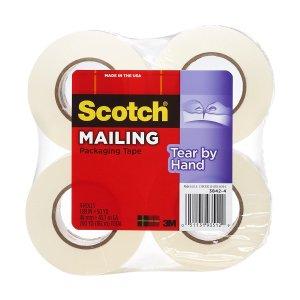 $7.53(原价$30.49)Scotch 手撕胶带, 1.88吋款 x 50码长 4包装