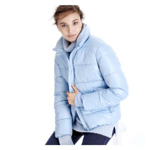 Funnel Neck Puffer Jacket in Light Blue from Joe Fresh