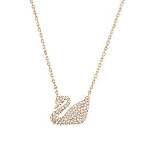 Swan Swarovski Crystal and Rose Goldtone Pendant Necklace