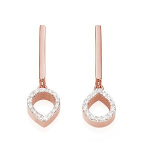 Naida Mini Lotus Open Drop Earrings in 18ct Rose Gold Vermeil on Sterling Silver with Diamond | Jewellery by Monica Vinader