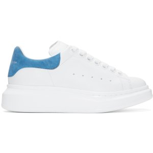Alexander McQueen: White & Blue Oversized Sneakers