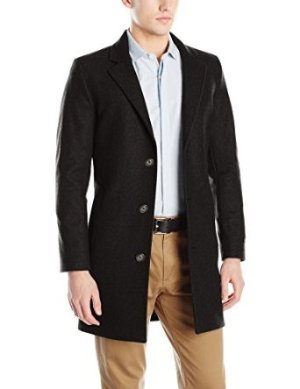$44.4 Nautica Men's CC 3 Button Wool Blend 37 Inch Topcoat
