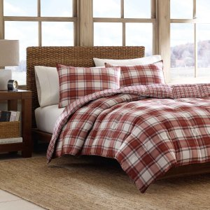 $29.73 Eddie Bauer Edgewood Plaid Down Alternative Reversible Comforter Set, Full/Queen, Red