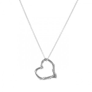 Signature Mini Floating Heart Pendant Necklace in Sterling Silver
