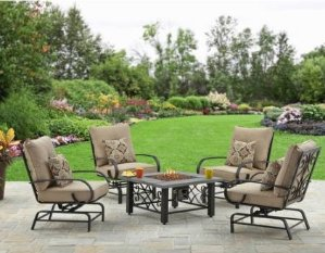 Better Homes and Gardens Wilmington Faux Wood Scroll 5-Piece Gas Fire Pit Set