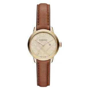 Burberry 32mm Round Check Watch with Leather Strap, Tan
