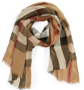 $221.25 Burberry 'Giant Exploded Check' Linen Scarf @ Nordstrom