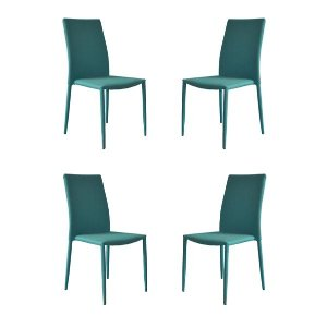 Set of 4 Piece Modern and Sleek Fabric Dining Room Chairs - Blue - Sofamania