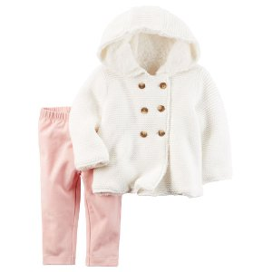 Baby Girl 2-Piece Sherpa-Lined Sweater & Legging Set | Carters.com