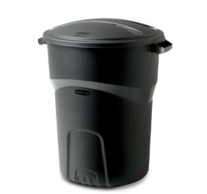 Rubbermaid Roughneck 32 Gal. Black Round Trash Can with Lid