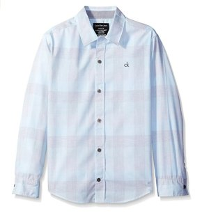 $6.33 Calvin Klein Boys' Hairline Plaid Long Sleeve Shirt