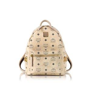 MCM Beige Mini Stark Backpack at FORZIERI
