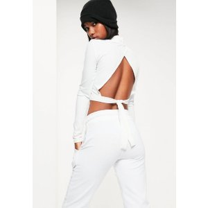 White Tie Back Ribbed High Neck Crop Top