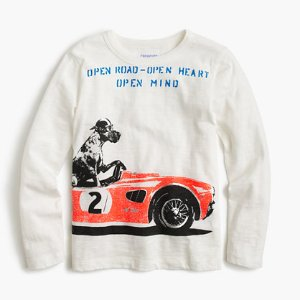 Boys' long-sleeve racing Great Dane T-shirt : graphic t-shirts   J.Crew