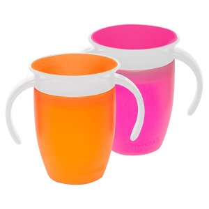 Munchkin Miracle 360 Trainer Cup, Pink/Orange, 7 Ounce, 2 Count