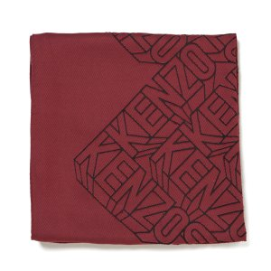 KENZO Women's High End Icons Flying Logo Devore Scarf - Bordeaux - Free UK Delivery over £50