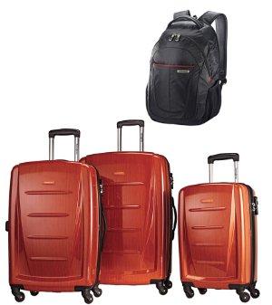 $274 Samsonite Winfield 2 Fashion 3 Piece Spinner Set Orange w/ Business Backpack