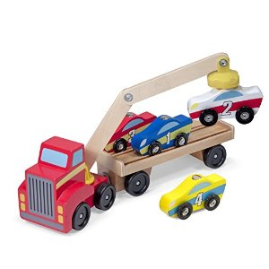 Loader Wooden Toy Set With 4 Cars and 1 Semi-Trailer Truck: Melissa & Doug: Toys & Games