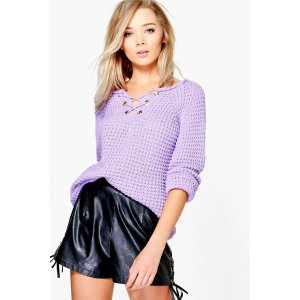 Erin Lace Up Jumper | Boohoo