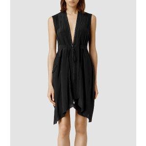 ALLSAINTS US: Womens Lewis Lew Silk Dress (Black)