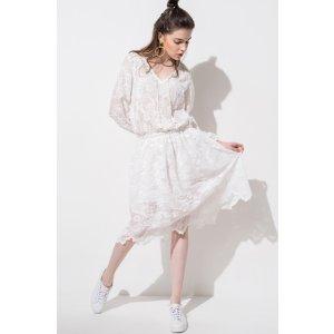 FRS White V-neck Lace Midi Dress