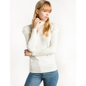 Ivory Ruched Puff Sleeve Knit Top