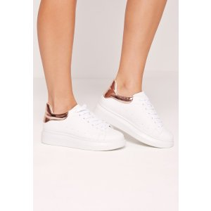 Flatform Lace Up Trainers Rose Gold
