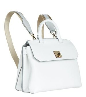MCM Milla Medium Pebbled-Leather Backpack, Cloud Dancer @ Neiman Marcus