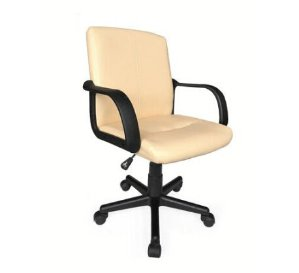 $42Mainstays Tufted Leather Mid-Back Office Chair, Cream