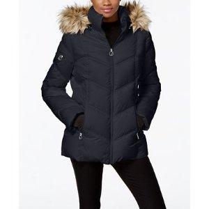 Nautica Faux-Fur-Trim Hooded Puffer Coat - Coats - Women - Macy's