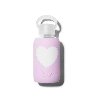 Bkr Beauty Bottle Juliet 8 oz. Water Bottle - Opaque Lavender With White Heart