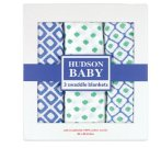 $15 Hudson Baby Muslin Swaddle Blankets, Blue, 3 Count