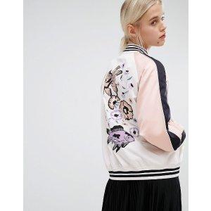 Monki Embroidered Back Bomber Jacket