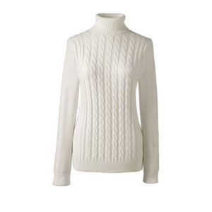 Women's Cotton Cable Turtleneck Sweater from Lands' End